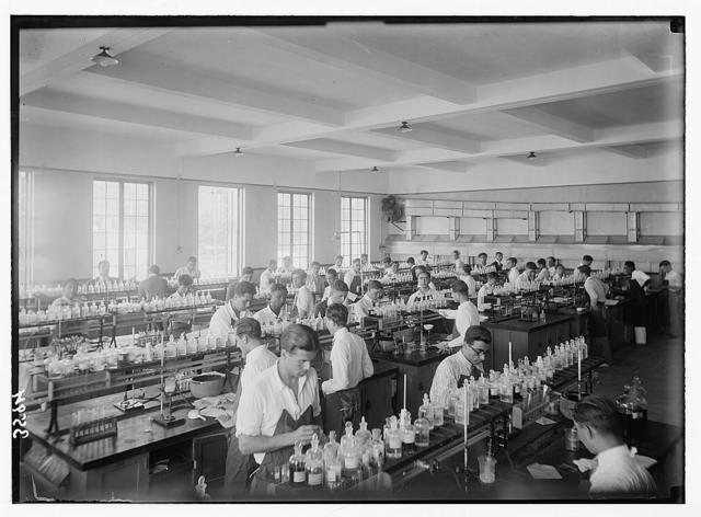 American University. Beirut, (A.U.B.). Class in chemistry bldg. [i.e., building] Gift of the Rockefeller Foundation