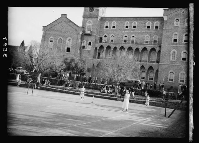 American University, Beirut, (A.U.B.). Tennis courts. College Hall in background