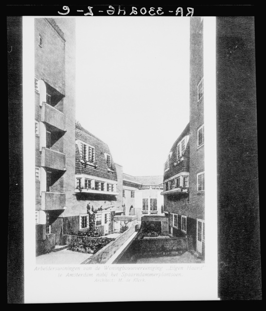 "Amsterdam, Netherlands. Workers apartment of the ""Einge Haard"" Housing Association, near the Spaarndammerplantsoen. Architect: M. De Klerk"