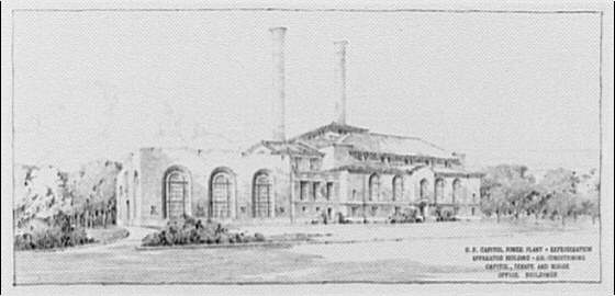 Architect of the Capitol. Copy of architect's drawing of U.S. Capitol power plant building