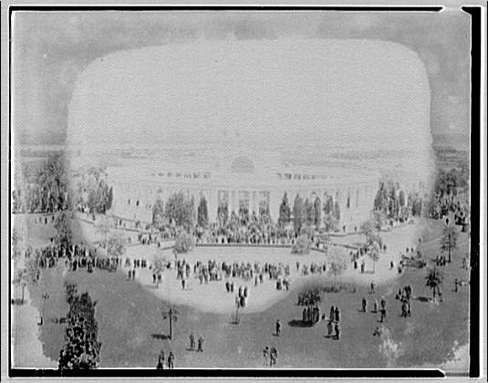 Arlington National Cemetery. Arlington National Cemetery Amphitheater with crowd, from mast of Maine