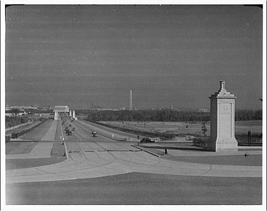 Arlington National Cemetery. Gates in foreground, showing city of Washington, D.C. in background II
