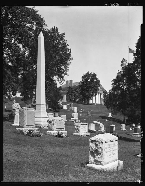 Arlington National Cemetery. Portion of cemetery with Custis-Lee Mansion in background