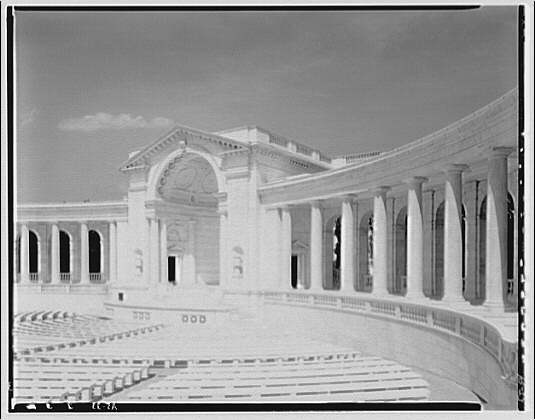Arlington National Cemetery. Rostrum of Arlington National Cemetery Amphitheater from right side