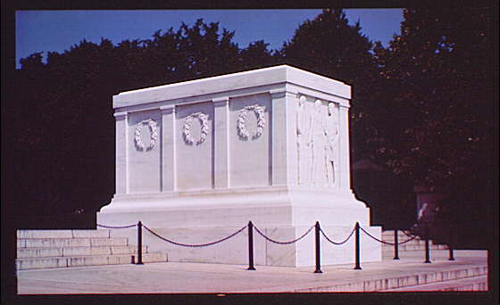 Arlington National Cemetery. Tomb of the Unknown Soldier, side angle close-up