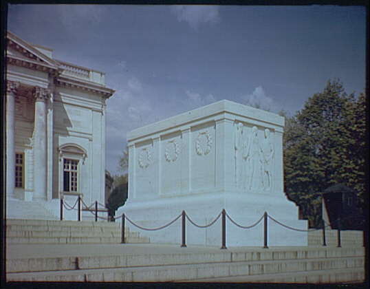 Arlington National Cemetery. Tomb of the Unknown Soldier, side angle from below III