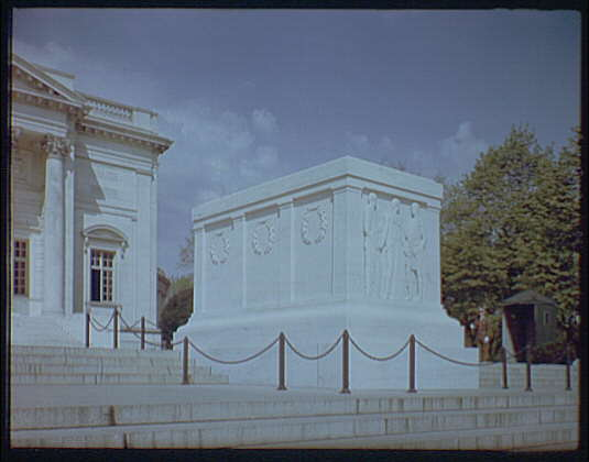 Arlington National Cemetery. Tomb of the Unknown Soldier, side angle from below IV