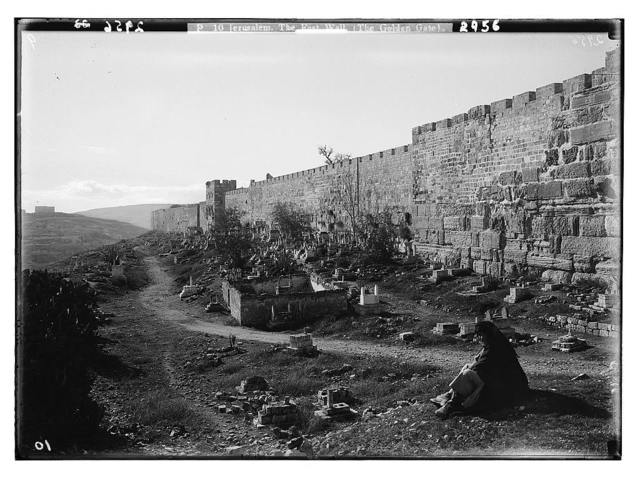 Around the city wall [Jerusalem]. The east wall, showing Herodian wall and Golden Gate