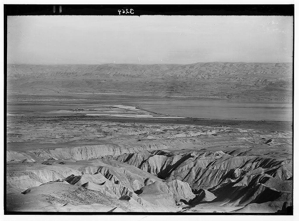 Around the Dead Sea. The Dead Sea. Palestine Potash Works. Distant view of evaporating pans