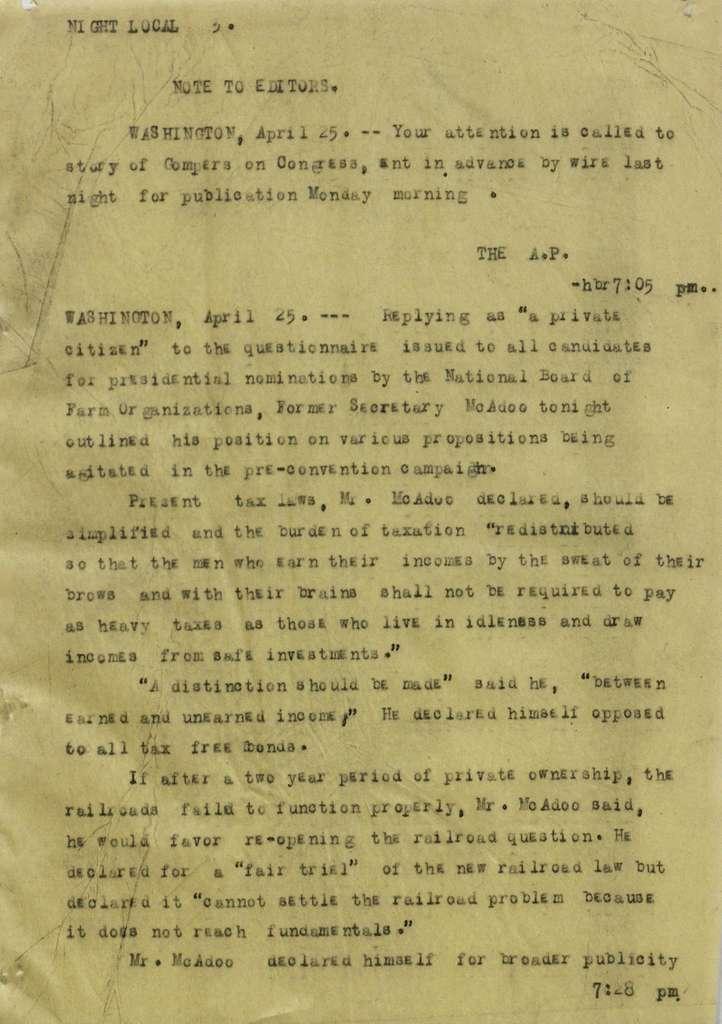Associated Press, Washington, D.C., Bureau News Dispatches: 1920, Apr. 16-30