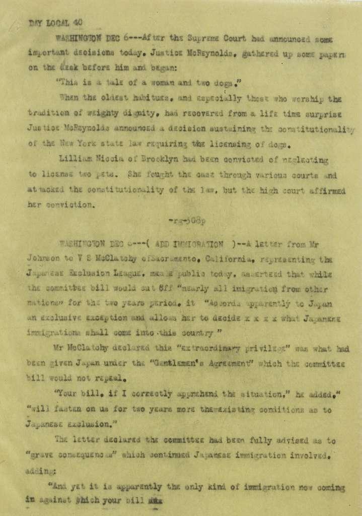 Associated Press, Washington, D.C., Bureau News Dispatches: 1920, Dec. 1-15
