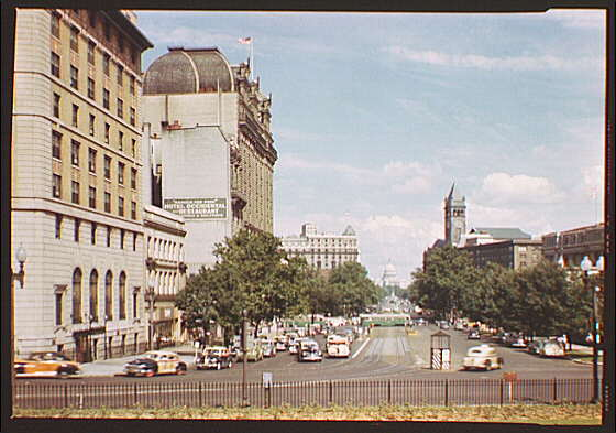 Avenues and streets. View down Pennsylvania Ave., with Capitol and Old Post Office tower III