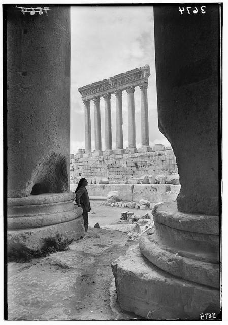 "Baalbek. ""Heliopolis."" Temple of the Sun. Framed by columns of the peristyle of the Temple of Bacchus"