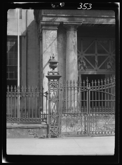 Bank of Louisiana wrought iron fence, 344 Royal Street, New Orleans