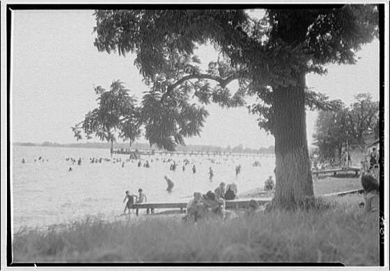 Beach at Chappel Point, Maryland. View to water, Chappel Point
