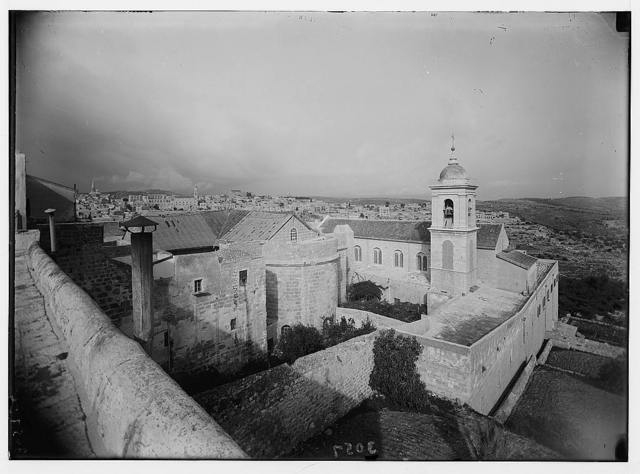 Bethlehem and surroundings. Bethlehem. The Basilica and Church of St. Catherine. Ringing of these bells was first broadcast, Xmas [i.e., Christmas] Eve, 1933
