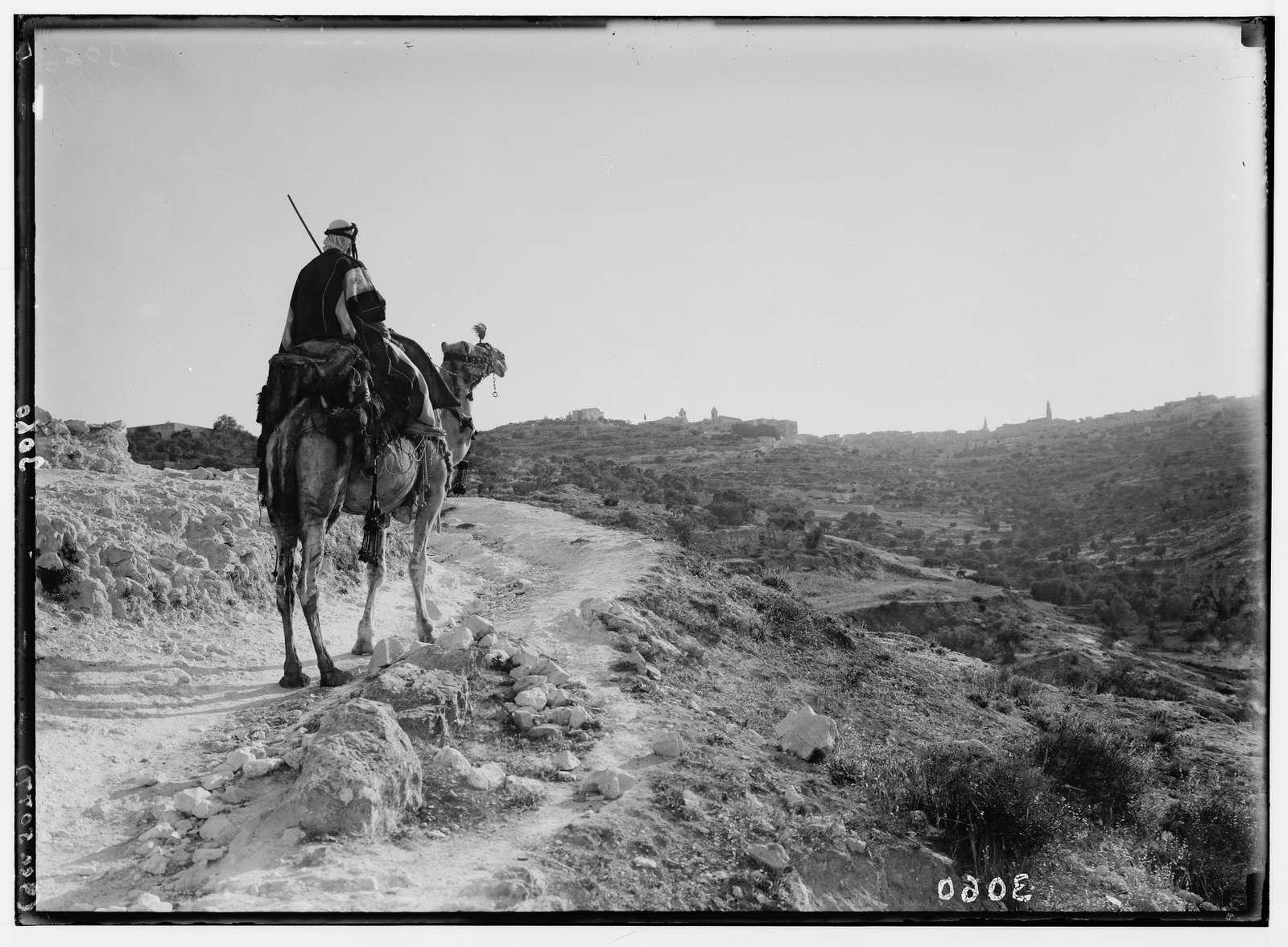 Bethlehem and surroundings. Evening on road to Bethlehem. Camel-rider approaching Bethlehem in the twilight