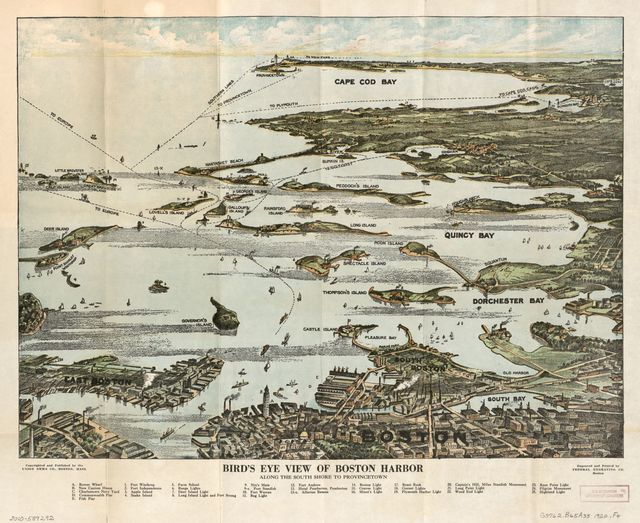Bird's eye view of Boston Harbor along the South Shore to Plymouth, Cape Cod Canal, and Provincetown : in colors : showing all steamboat routes.