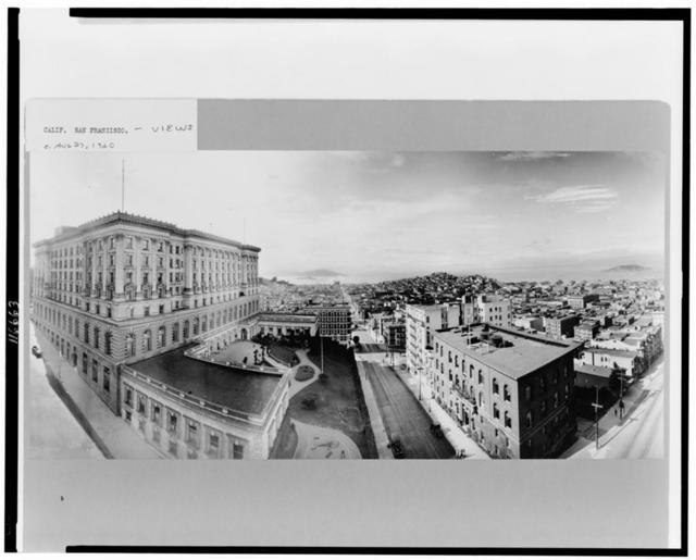 [Bird's-eye view of San Francisco, California, showing a view up Powell Street with the Fairmont Hotel on the left and Alcatraz Island in the distance] / R.J. Waters & Co.
