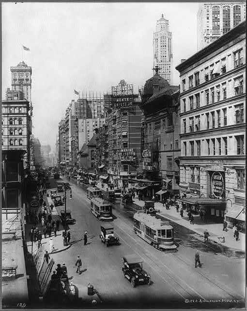 [Broadway north from 38th St., New York City, showing Winter Garden, Maxine Elliott's, Casino, and Knickerbocker Theatres]