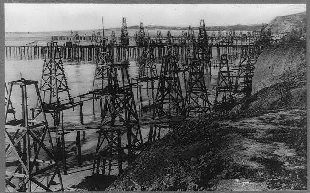 California, Santa Barbara. Pumping oil out of the Pacific Ocean at Summerland, California