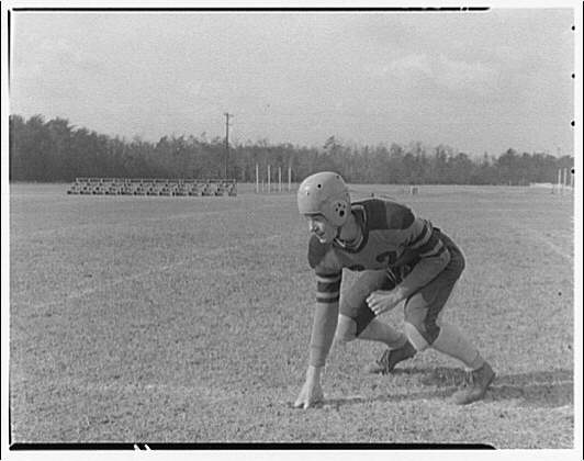 Charlotte Hall Military Academy. Football player, crouched