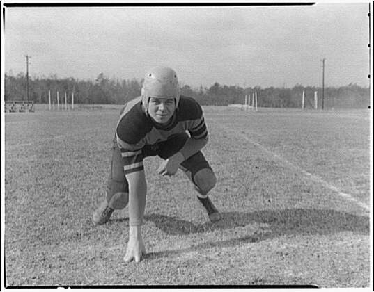 Charlotte Hall Military Academy. Football player, in starting position