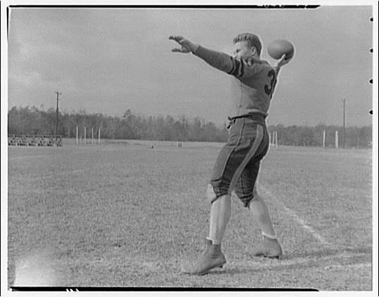 Charlotte Hall Military Academy. Football player, passing ball