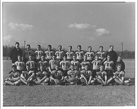 Charlotte Hall Military Academy. Portrait of football team