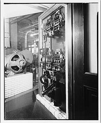 Circuit breaker in store building. Close-up of circuit breaker I