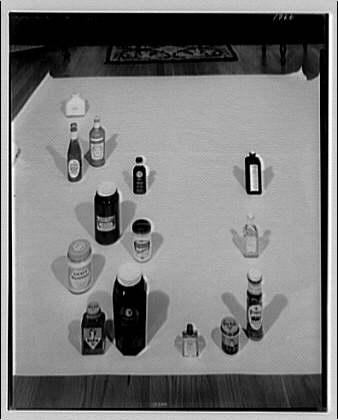 Closures on bottles and jars. Bottle display