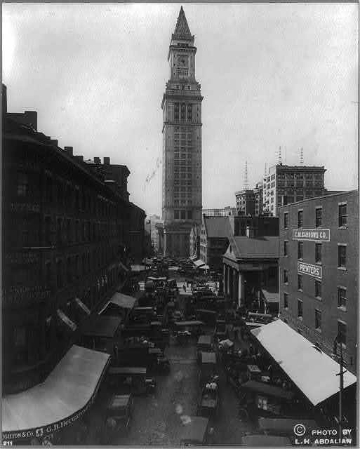Commercial St. and Custom House, Boston, Mass / photo by L.H. Abdalian.