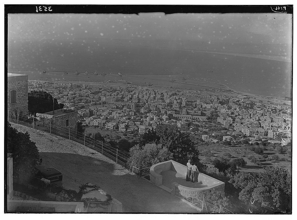 Construction of the Haifa Harbor. The completed Haifa Harbour seen from lower Carmel