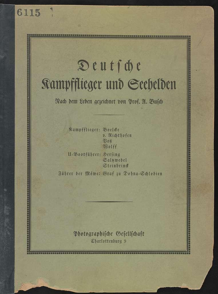 Cover of portfolio: Deutsche Kampfflieger und Seehelden nach dem Leben gezeichnet von A. Busch
