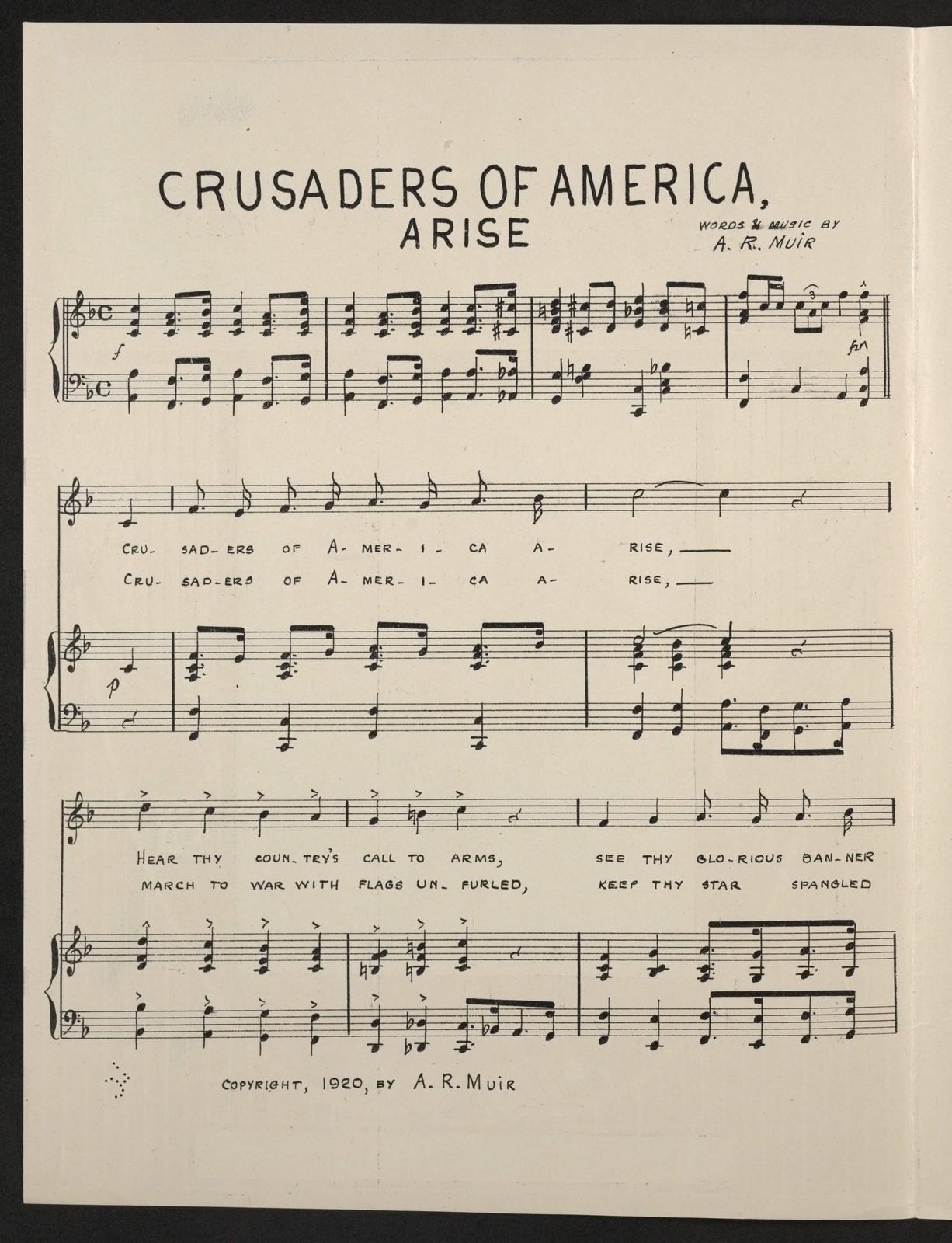 Crusaders of America, arise