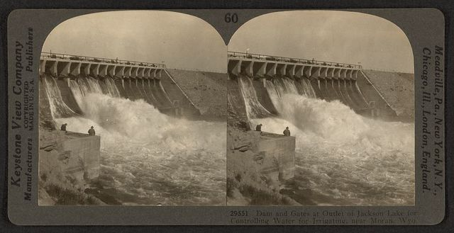 Dam and gates at outlet of Jackson Lake for controlling water for irrigating, near Moran, Wyo.
