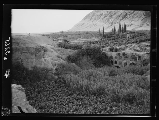 Down the Jordan Valley from the Sea of Galilee to the Dead Sea. Ain Duke. Ancient viaduct and banana plantations north of Jericho