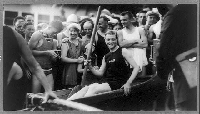 [Edward, Duke of Windsor, three-quarter length portrait, seated, facing front, in rowboat (scull?) at Waikiki Beach, Honolulu]