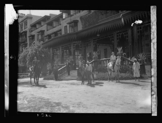 Egyptian Hotels, Ltd, Cairo. Mena House hotel. Exterior. Showing a riding party at main entrance