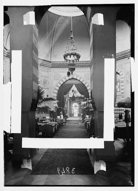 Egyptian hotels Ltd., Cairo. Shepheard's Hotel. Interior. Main lounge