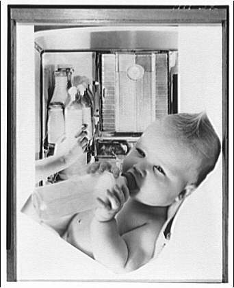 Electric Institute of Washington. Baby with milk bottles in background