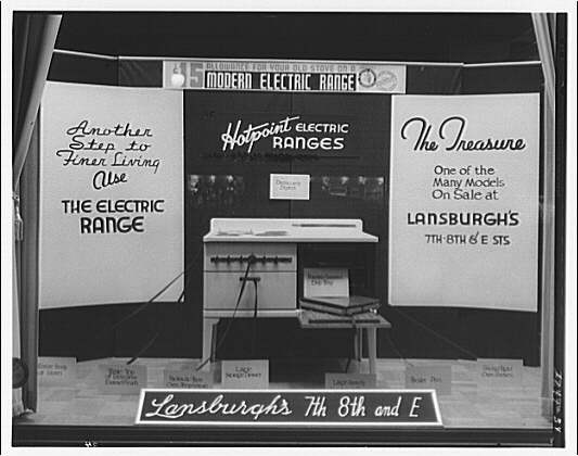 Electric Institute of Washington. Lansburgh's Co. electric range window display
