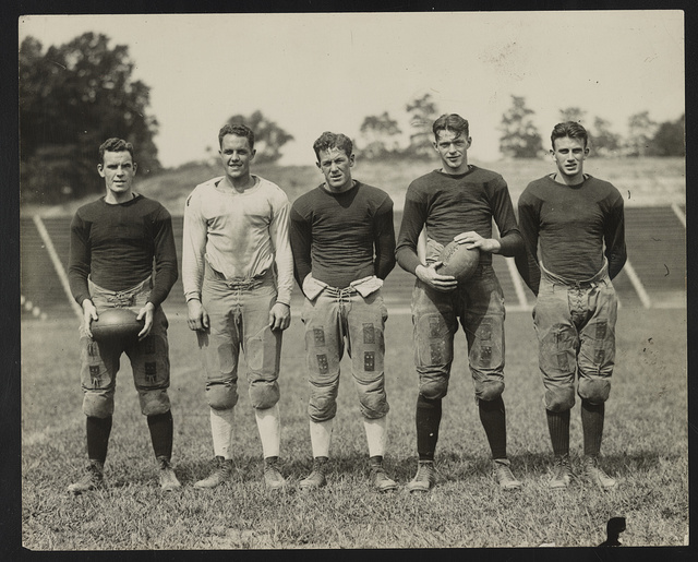 Ends of football at Catholic University Kelley, Mayer, Moore, McCann, and Howell.