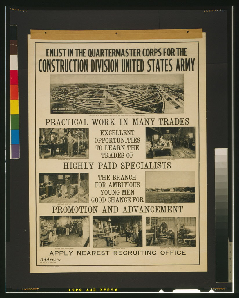 Enlist in the Quartermaster Corps for the construction division United States Army