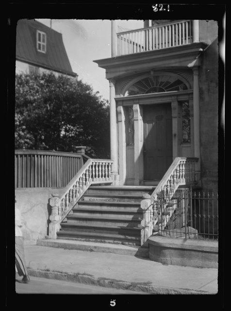 Entrance to a multi-story house, New Orleans or Charleston, South Carolina