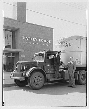 Ervin Wasey Co. Inc., Eaton Manufacturing Co. Truck from National of Washington, D.C. in front of Valley Forge Distributing Co. III
