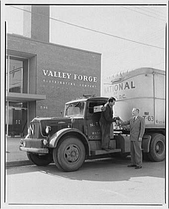 Ervin Wasey Co. Inc., Eaton Manufacturing Co. Truck from National of Washington, D.C. in front of Valley Forge Distributing Co. II