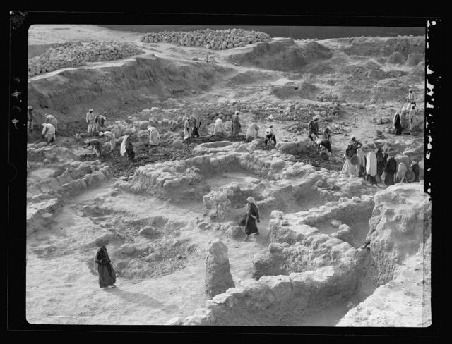 Excavations. Ain Shems (Beth Shemesh) on the Sharon Plain. Showing walls of store house and a grain bin