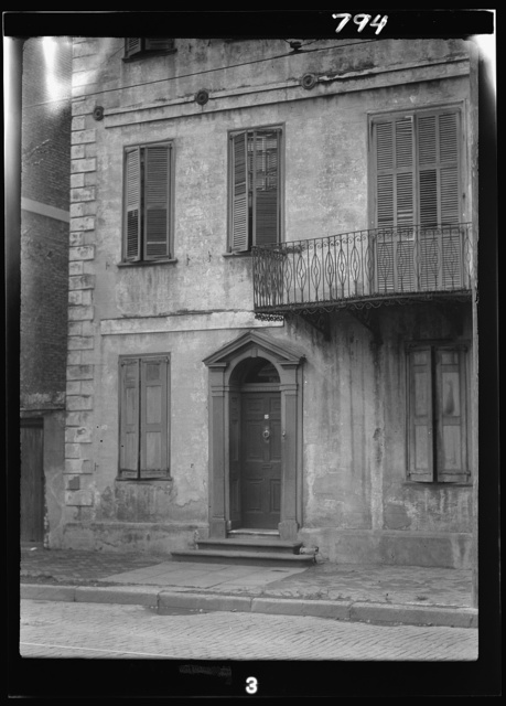 Facade of a multi-story house, New Orleans or Charleston, South Carolina