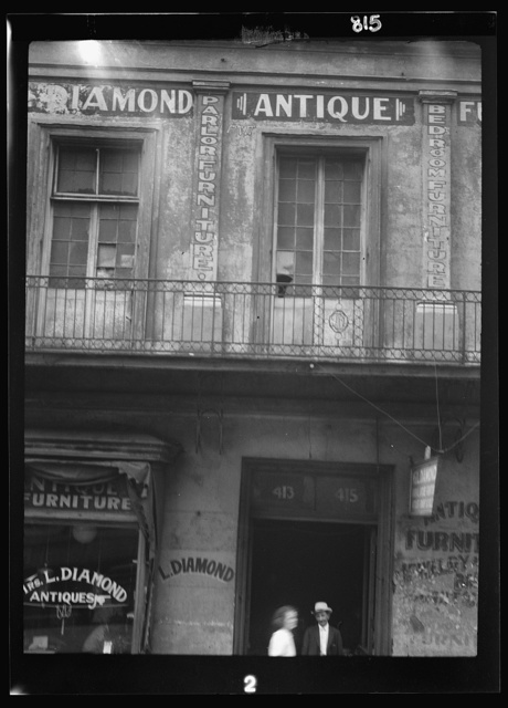 Facade of the Diamond antique store, New Orleans or Charleston, South Carolina